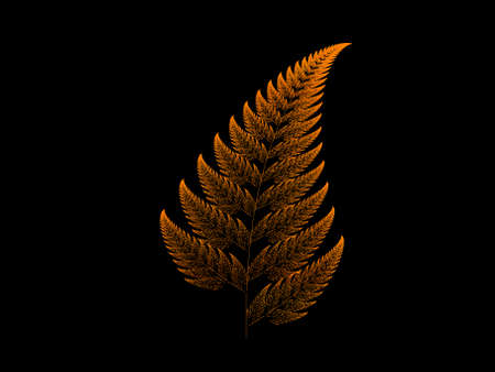 iterative: Orange Barnsley set fern abstract fractal illustration useful as a background