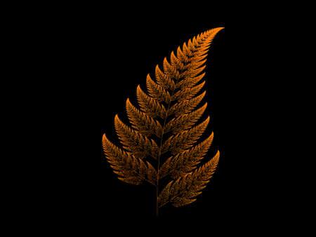 Orange Barnsley set fern abstract fractal illustration useful as a background