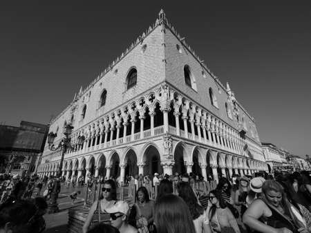 VENICE, ITALY - CIRCA SEPTEMBER 2016: Piazza San Marco (meaning St Mark square) in black and white Editorial