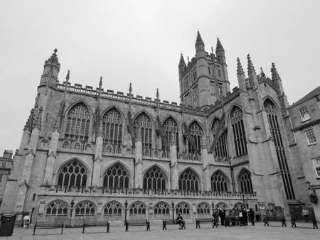 peter the great: BATH, UK - CIRCA SEPTEMBER 2016: The Abbey Church of Saint Peter and Saint Paul (aka Bath Abbey) in black and white