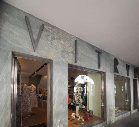 rationalist: COMO, ITALY - CIRCA APRIL 2017: Vitrum store front designed by rationalist architect Giuseppe Terragni