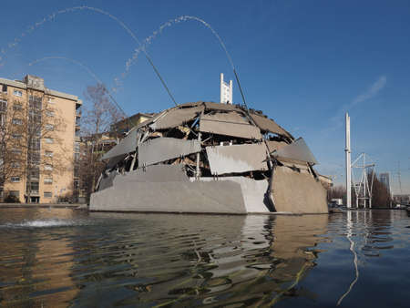 TURIN, ITALY - CIRCA MARCH 2017: The igloo fountain designed by Mario Merz