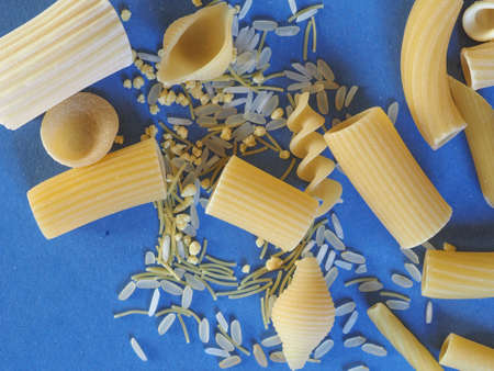 maccheroni: Many different kinds of Italian pasta including penne macaroni (maccheroni) fusilli spaghetti trenette (linguine) orecchiette tortiglioni conchiglie (shells) rice and egg pasta