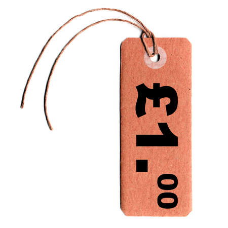 tagging: blank tag label for price over white background, 1 pound