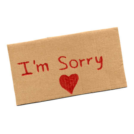 I am sorry sign with red heart symbol of love Stock Photo