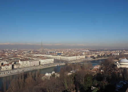 po: Aerial view of the city of Turin, Italy seen from the hill