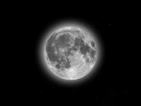 starry night: Full moon seen with an astronomical telescope over starry sky