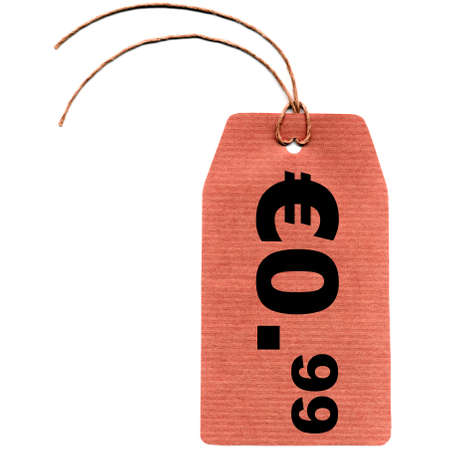 99: Blank tag label for price over white background, 99 cents