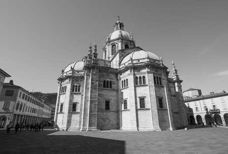 COMO, ITALY - CIRCA APRIL 2017: Santa Maria Assunta Roman Catholic cathedral church in black and white