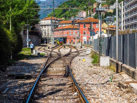 COMO, ITALY - CIRCA APRIL 2017: Como Nord Lago railway station (HDR)