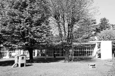 rationalist: COMO, ITALY - CIRCA APRIL 2017: Asilo Sant Elia kindergarten designed by rationalist architect Giuseppe Terragni in black and white