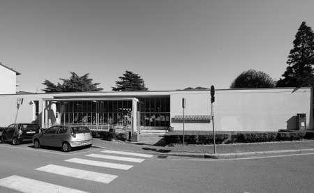 rationalist: COMO, ITALY - CIRCA APRIL 2017: Asilo Sant Elia kindergarten designed by rationalist architect Giuseppe Terragni in black_and_white Editorial