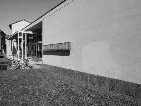 architect: COMO, ITALY - CIRCA APRIL 2017: Asilo Sant Elia kindergarten designed by rationalist architect Giuseppe Terragni in black_and_white Editorial