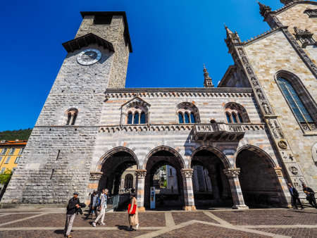 municipal editorial: COMO, ITALY - CIRCA APRIL 2017: Broletto (ancient medieval town hall) (HDR)