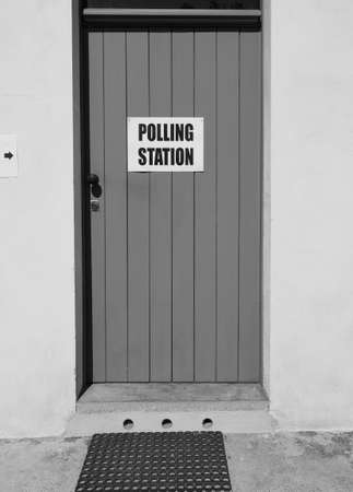 Polling station place for voters to cast ballots in general elections in black and white
