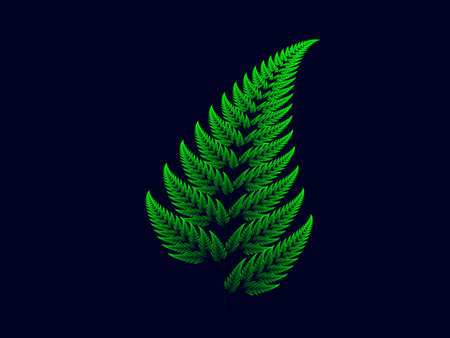 Colour Barnsley set fern abstract fractal illustration useful as a background Фото со стока
