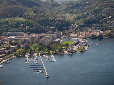 Aerial view of Lake Como, Italy seen from Brunate hill