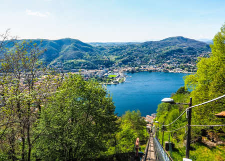 Aerial view of Lake Como, Italy seen from Brunate hill (HDR) Stock Photo