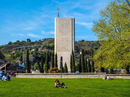 futurist: COMO, ITALY - CIRCA APRIL 2017: Monumento ai Caduti war memorial by rationalist architects Antonio Sant Elia and Giuseppe Terragni (HDR)