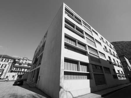 rationalist: COMO, ITALY - CIRCA APRIL 2017: Casa del Fascio (former National Fascist party seat) aka Palazzo Terragni designed by rationalist architect Giuseppe Terragni in black and white
