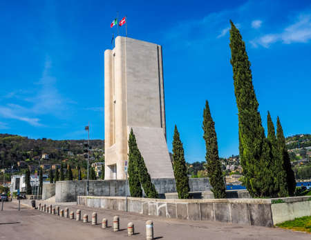 rationalist: COMO, ITALY - CIRCA APRIL 2017: Monumento ai Caduti war memorial by rationalist architects Antonio Sant Elia and Giuseppe Terragni (HDR)