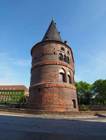 Holstentor (previously Holstein Tor, meaning Holsten Gate) in Luebeck, Germany Stock Photo