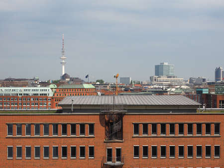 Aerial view of the city skyline seen from Hafencity in Hamburg, Germany Stock Photo