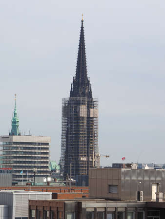 Nikolaikirche (Church of St Nicholas) cathedral during refurbishment works in Hamburg, Germany