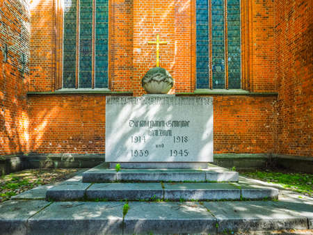 st german: War memorial at St Marien (St Mary) church in Luebeck, Germany, hdr