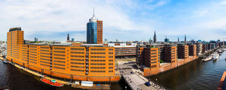 High resolution panoramic view of Hamburg city skyline seen from HafenCity of Hamburg, Germany