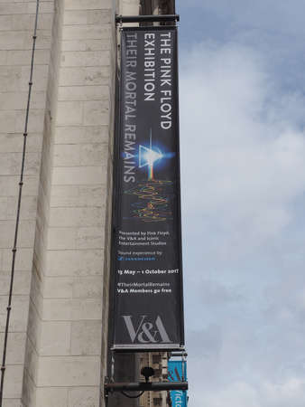 pink floyd: LONDON, UK - CIRCA JUNE 2017: Entrance to the Pink Floyd exhibition called Their Mortal Remains at the Victoria and Albert museum