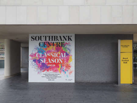 southbank: LONDON, UK - CIRCA JUNE 2017: Billboard for the Classical Season 2017 - 2018 at the Royal Festival Hall, Southbank Centre