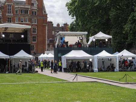 LONDON, UK - JUNE 09, 2017: Press and TV crews in College Green Westminster just opposite the Houses of Parliament, on the day following the June 8 general elections Editorial