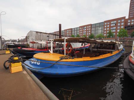 former: HAMBURG, GERMANY - CIRCA MAY 2017: HafenCity quarter in the district of Hamburg Mitte on the Elbe river island Grasbrook on former Hamburger Hafen (Port of Hamburg)