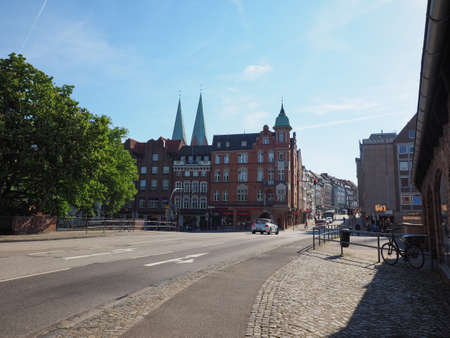 LUEBECK, GERMANY - CIRCA MAY 2017: View of the city from Holstenbrucke Editorial