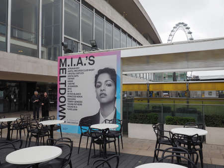 southbank: LONDON, UK - JUNE 08, 2017: Billboard showing MIAs Meltdown festival programme at the Southbank Centre