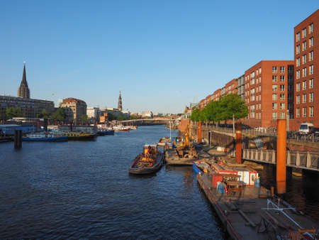 HAMBURG, GERMANY - CIRCA MAY 2017: HafenCity quarter in the district of Hamburg Mitte on the Elbe river island Grasbrook on former Hamburger Hafen (Port of Hamburg)