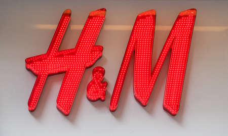 HAMBURG, GERMANY - CIRCA MAY 2017: Sign of H & M Hennes & Mauritz AB Swedish multinational clothing retail company Editorial