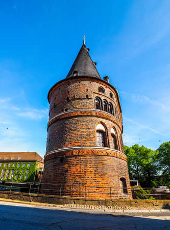 Holstentor (previously Holstein Tor, meaning Holsten Gate) in Luebeck, Germany, hdr