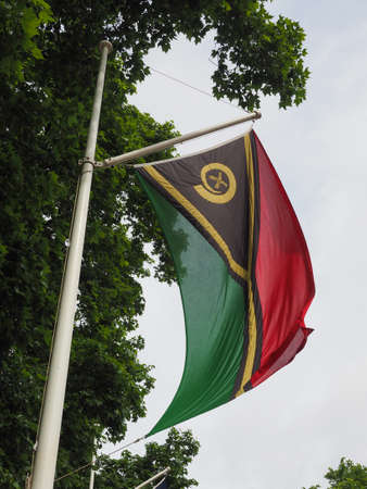 the Vanatuan national flag of Vanuatu, Oceania