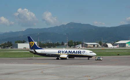 BERGAMO ORIO AL SERIO, ITALY - CIRCA MAY 2017: RyanAir Boeing 737-8AS parked at the airport