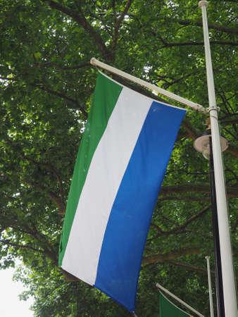 the Sierra Leonean national flag of Sierra Leone, Africa