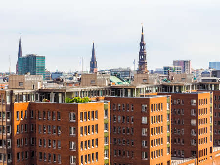 Aerial view of the city skyline seen from Hafencity in Hamburg, Germany, hdr