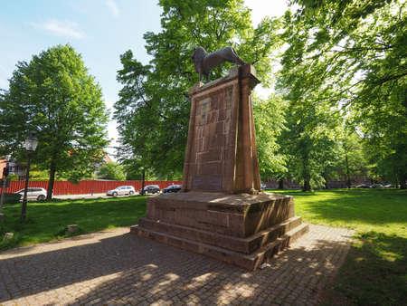 LUEBECK, GERMANY - CIRCA MAY 2017: Monument to Heinrich der Loewe (Henry the Lyon) aka Henry III Duke of Saxony and Henry XII Duke of Bavaria