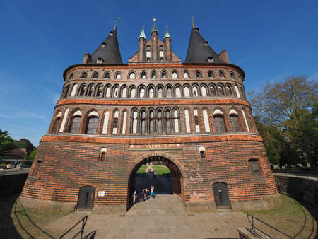 LUEBECK, GERMANY - CIRCA MAY 2017: Holstentor (previously Holstein Tor, meaning Holsten Gate)