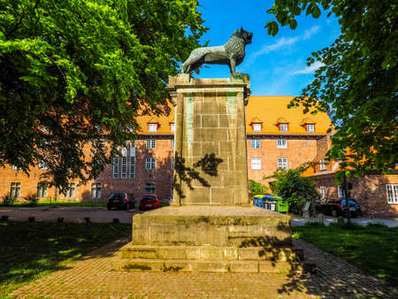 LUEBECK, GERMANY - CIRCA MAY 2017: Monument to Heinrich der Loewe (Henry the Lyon) aka Henry III Duke of Saxony and Henry XII Duke of Bavaria, hdr