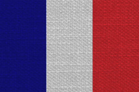 texturized: the French national flag of France, Europe with fabric texture