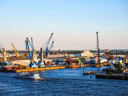 HAMBURG, GERMANY - CIRCA MAY 2017: Hamburger Hafen (Port of Hamburg) sea port on the river Elbe, hdr Editorial