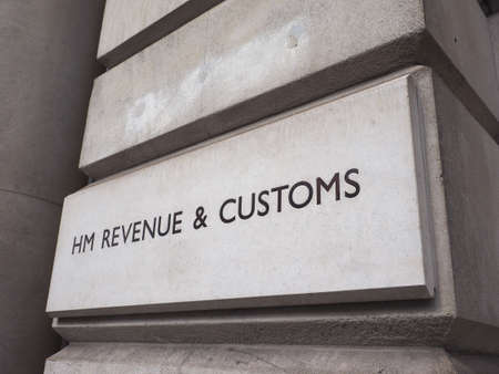 LONDON, UK - CIRCA JUNE 2017: HMRC Her Majesty Revenue and Customs sign