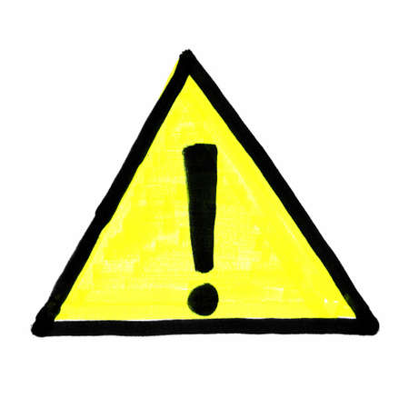 warning safety sign in black and yellow isolated over white background